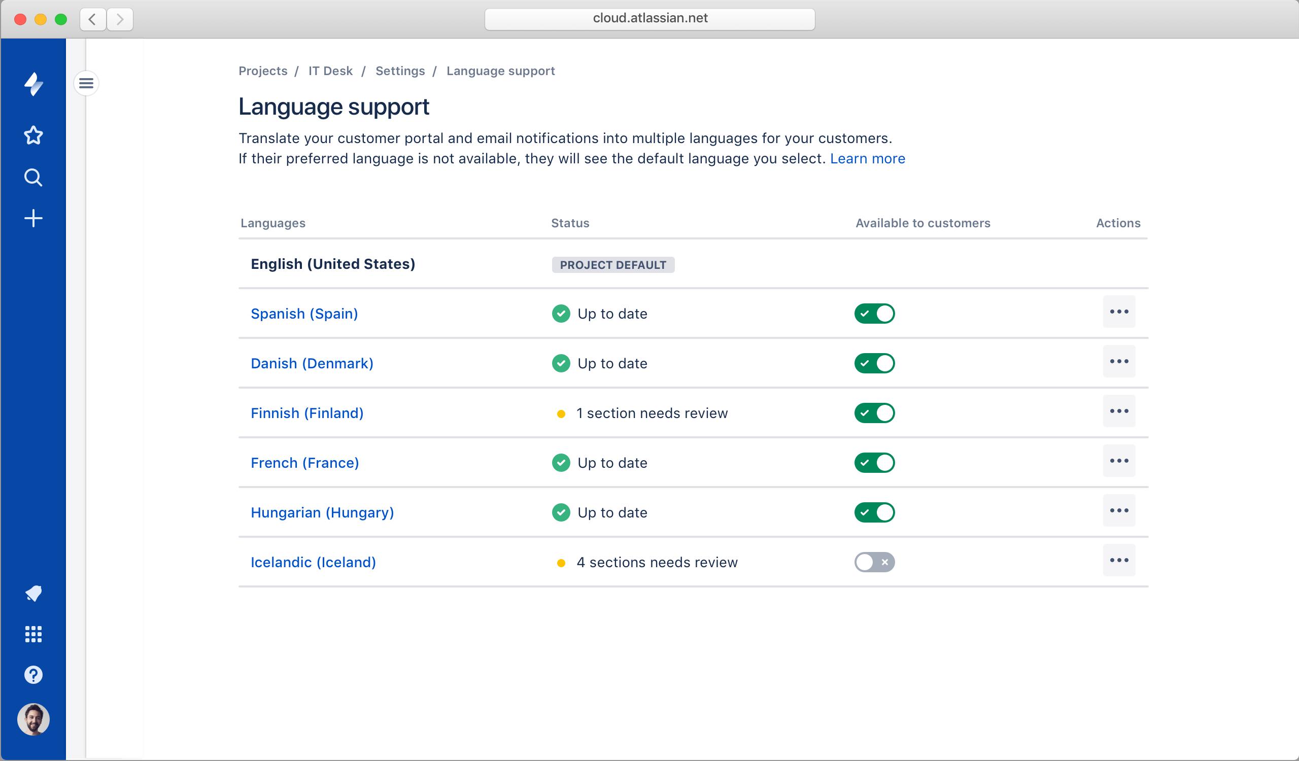 Captura de pantalla de soporte en varios idiomas