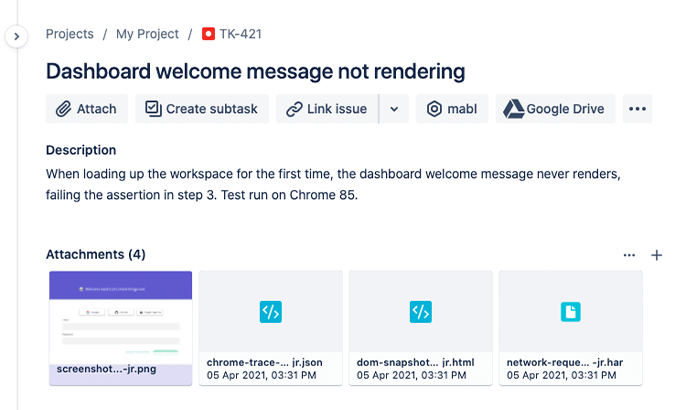 Mabl bug tracking integration within Jira Software