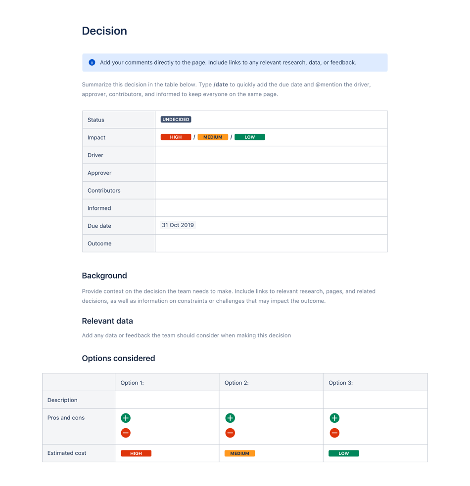 Decision log template