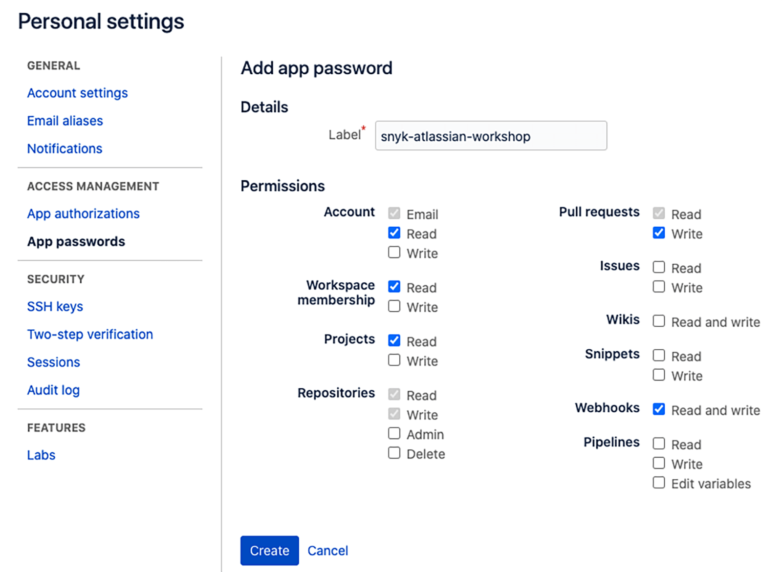 Personal settings window
