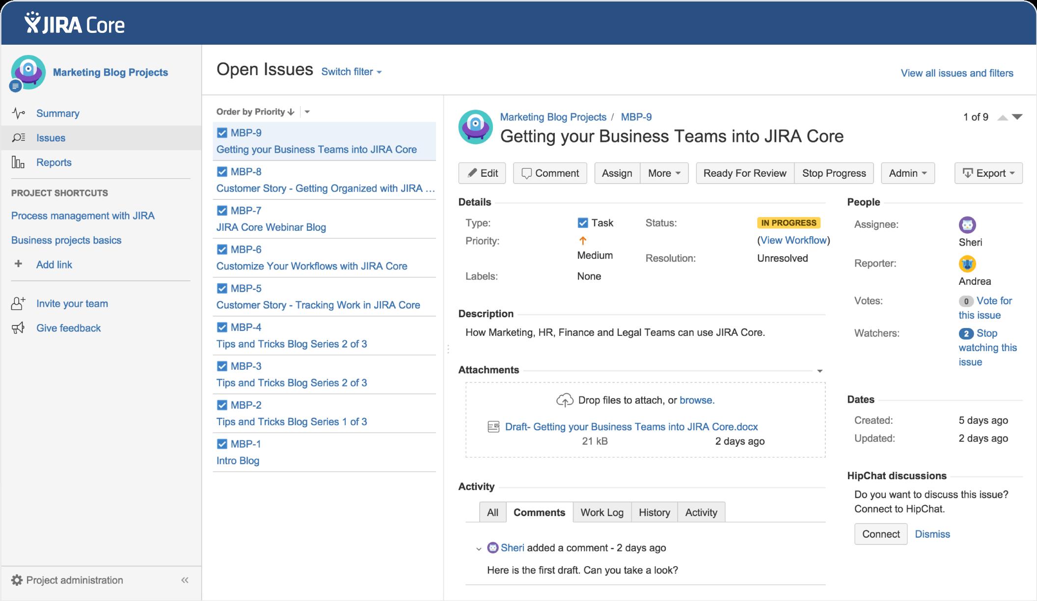 Jira Core dashboard