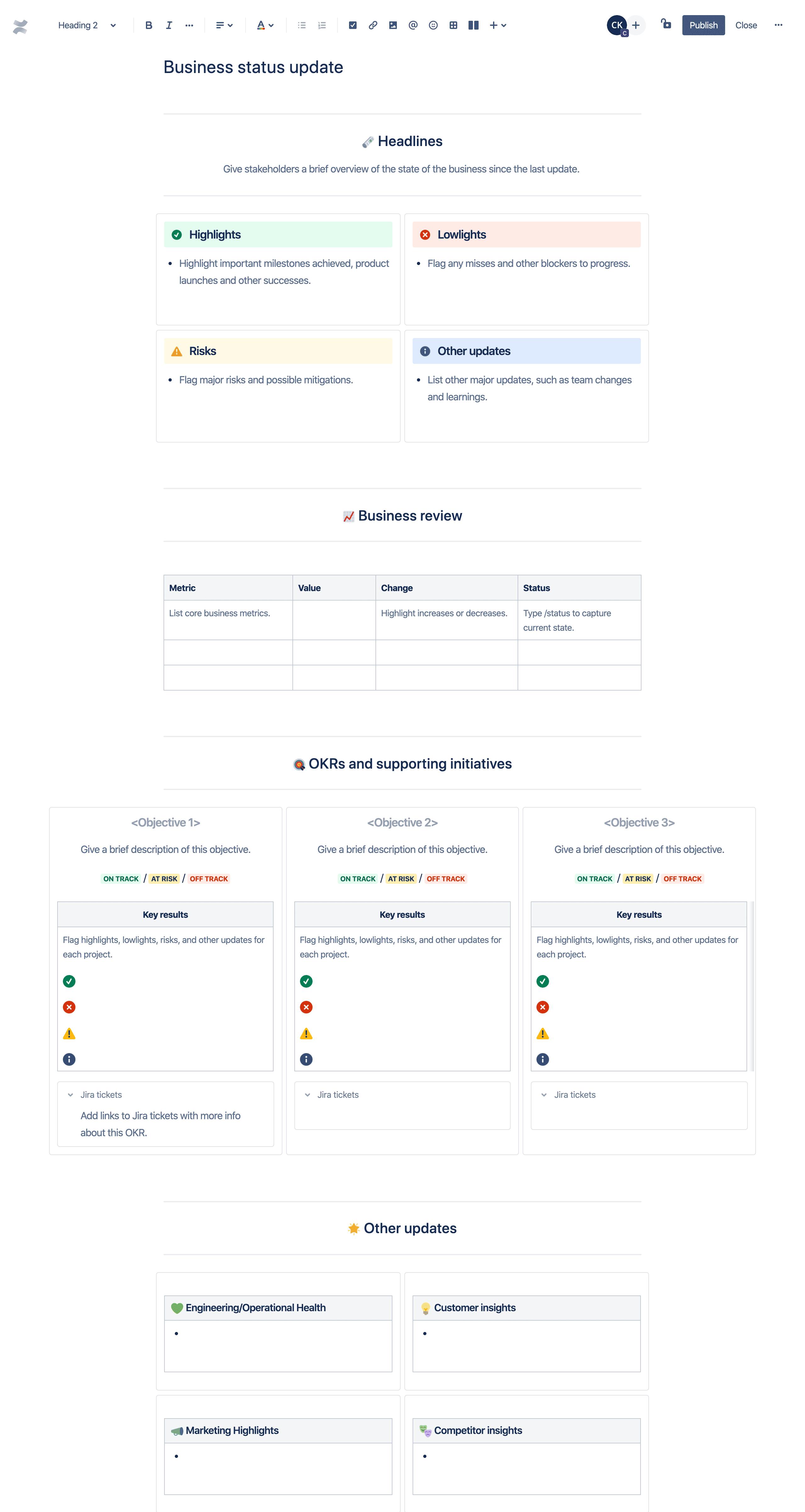 Template de atualização do status dos negócios