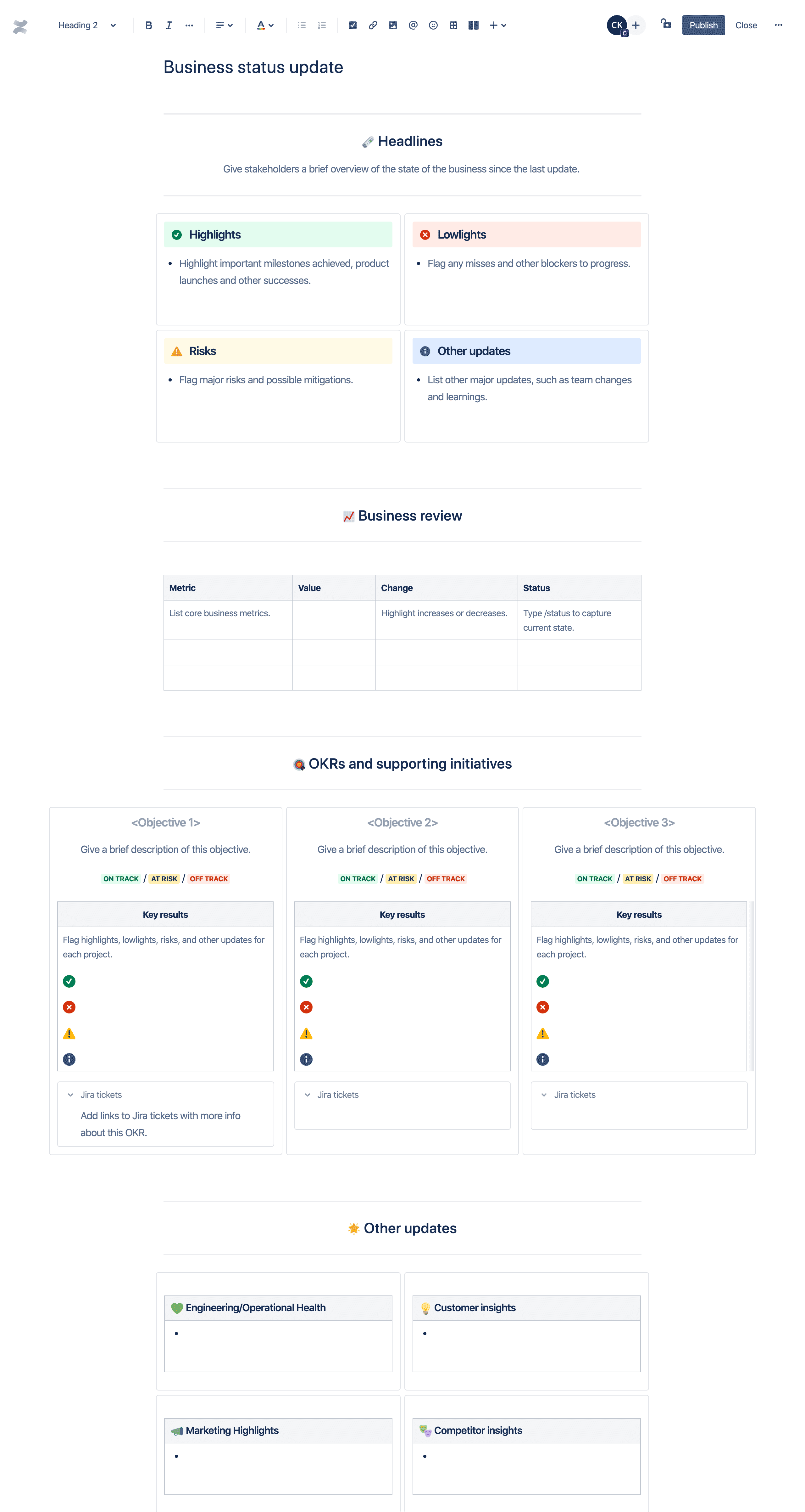 Business status update template