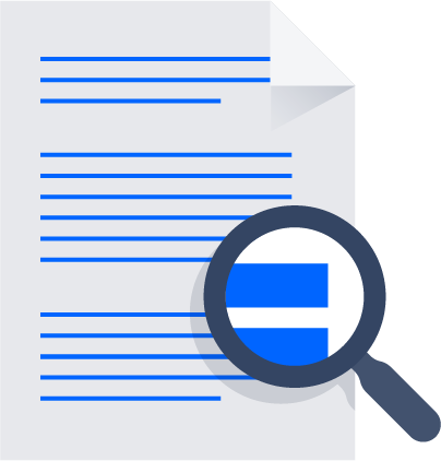 Magnifying glass over document