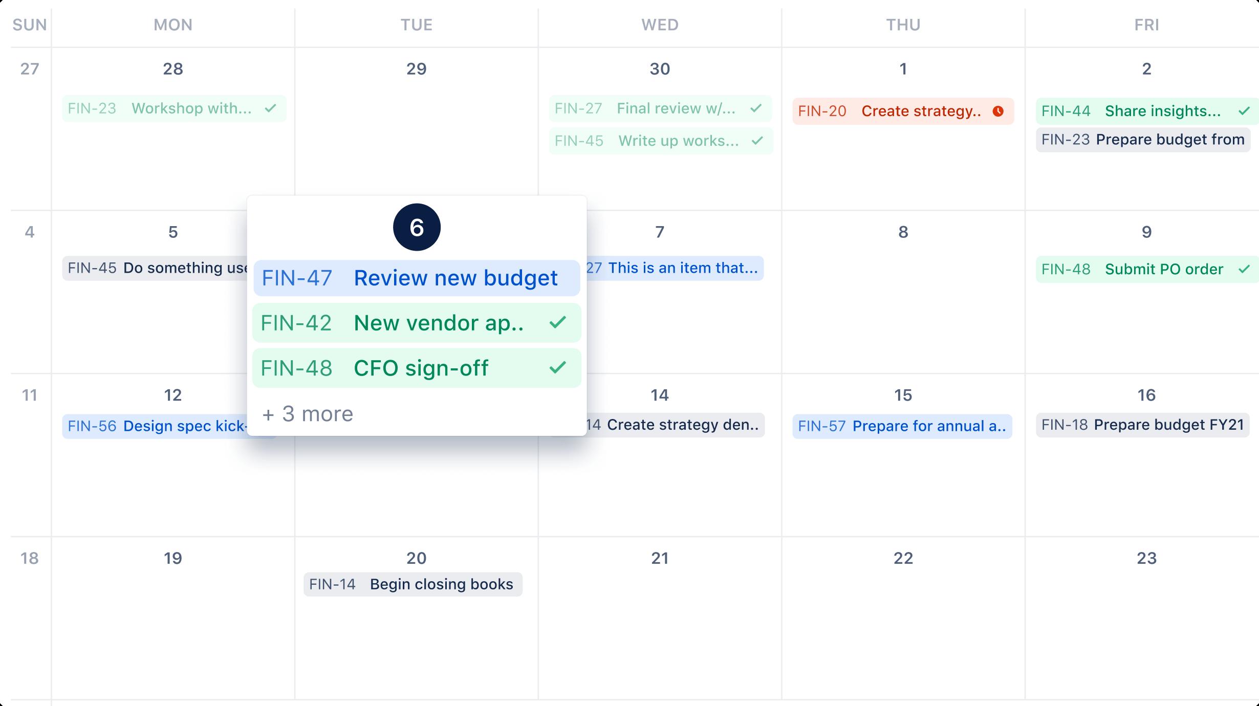 Capture d'écran du calendrier