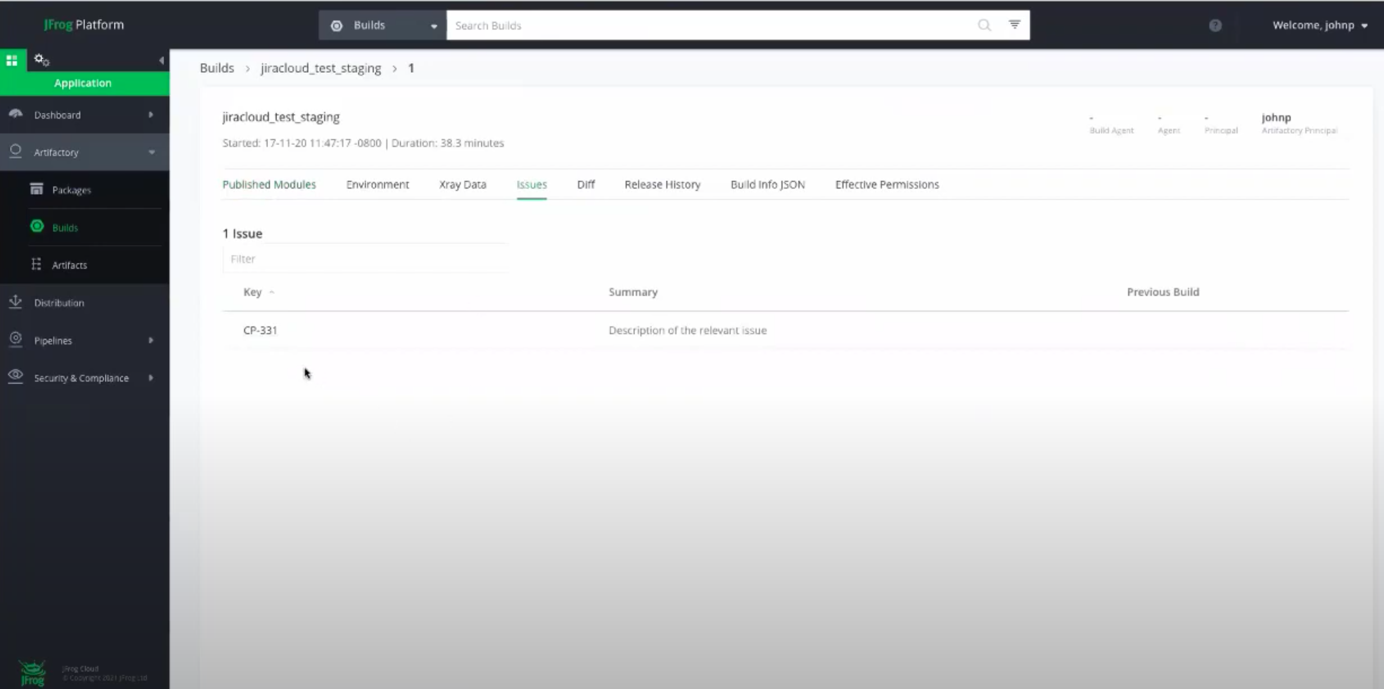 View Jira Issues from Artifactory Builds