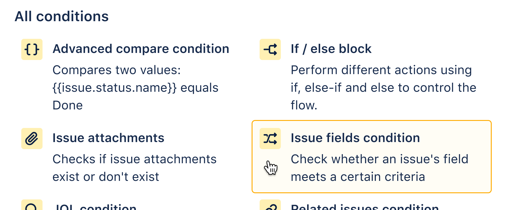 Adding issue fields condition