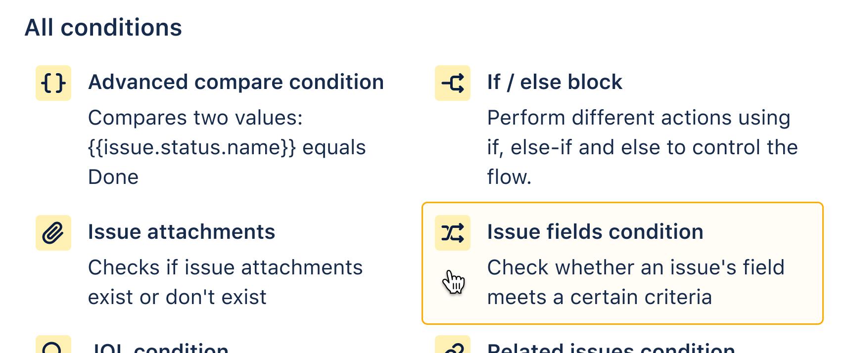 Adding issue fields condition