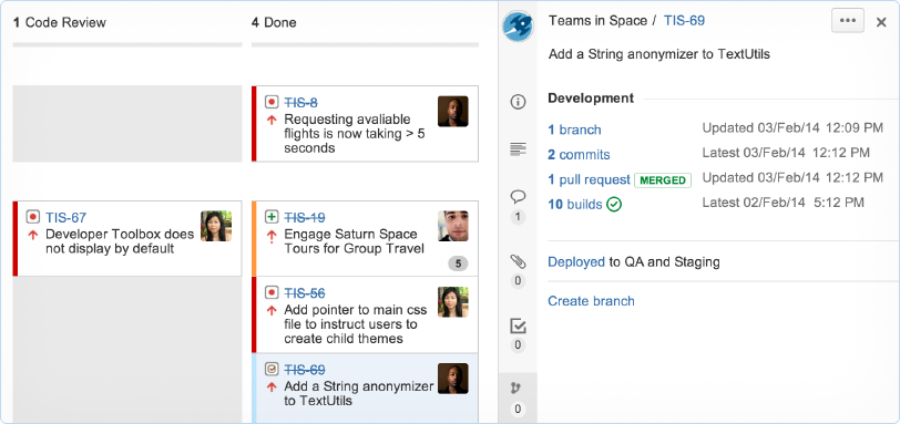 JIRA development panel