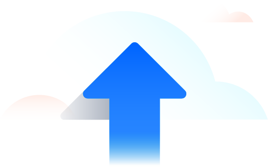 Up arrow in clouds
