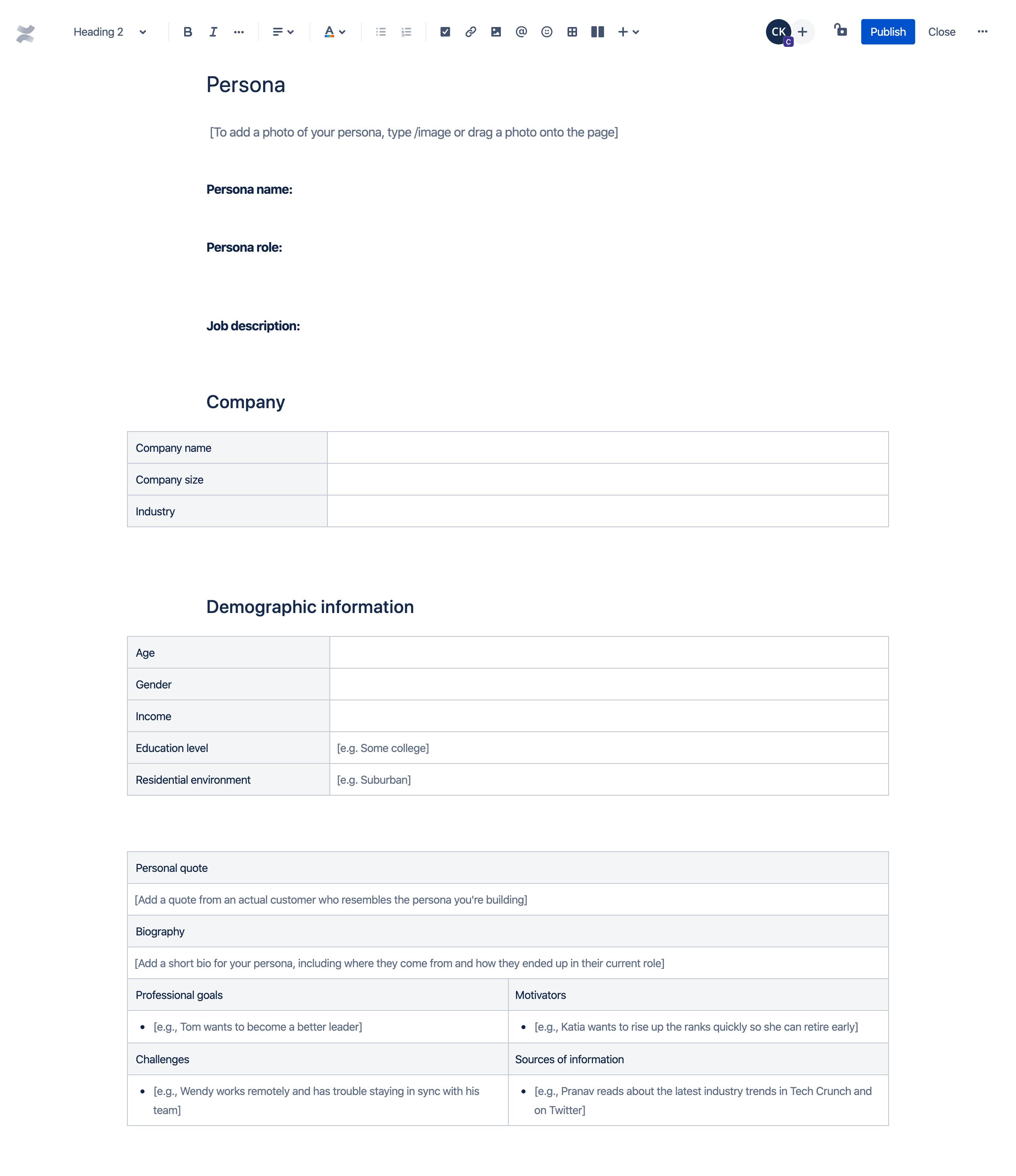 Profil klienta — szablon