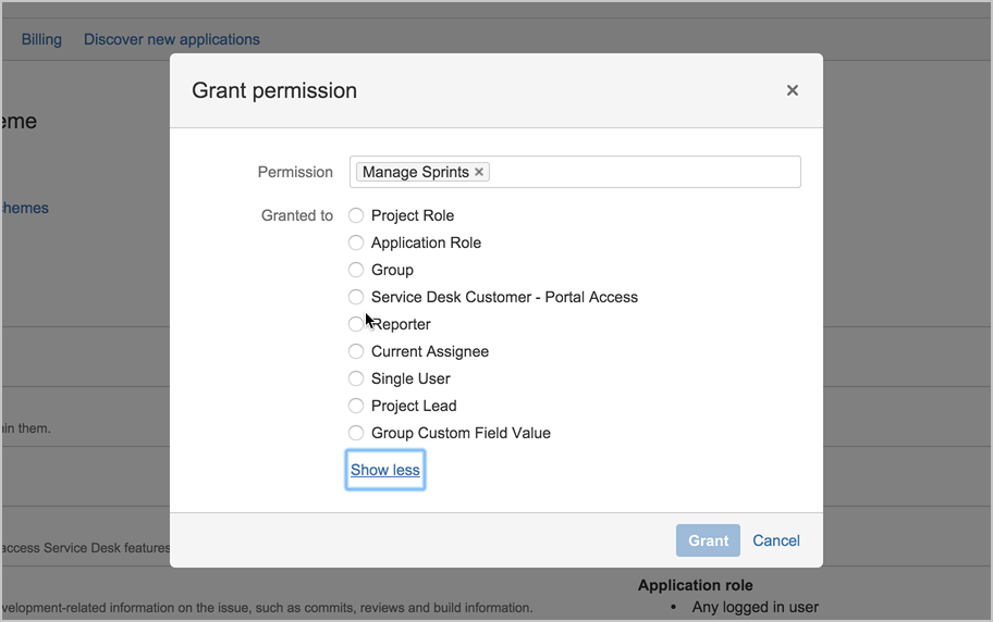 Permission settings in sprint planning