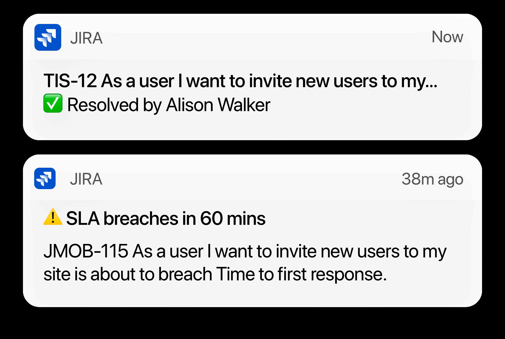 Jira Cloud モバイルの通知