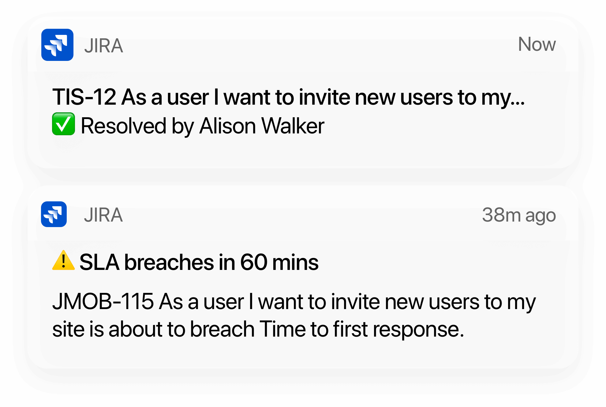 Notificações do Jira Cloud para dispositivos móveis
