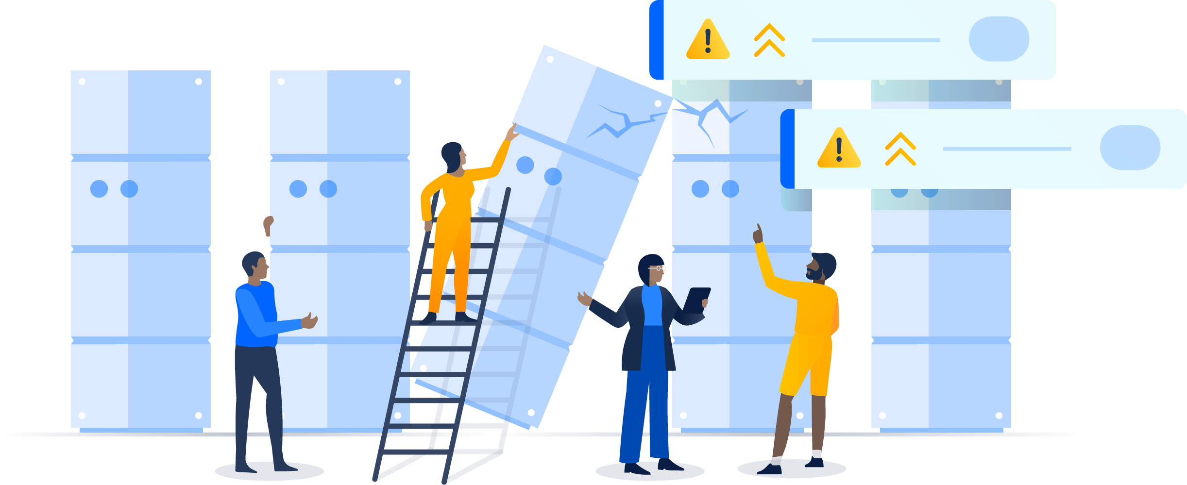 Колонна серверов с одним опрокидывающимся и вызывающим проблемы сервером