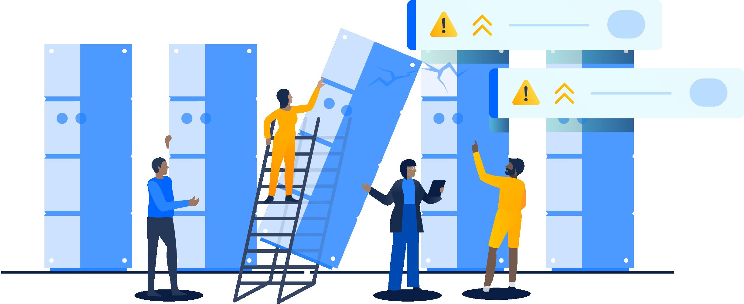 Coluna de servidores com um caindo e causando problemas