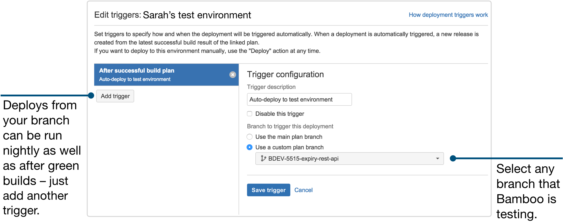 Captura de pantalla del entorno de prueba | CI/CD de Atlassian