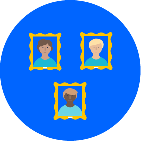 three people's pictures