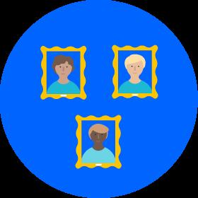Gráfico con puntos y tres marcas de verificación en el cuadrante superior izquierdo con un fondo circular azul
