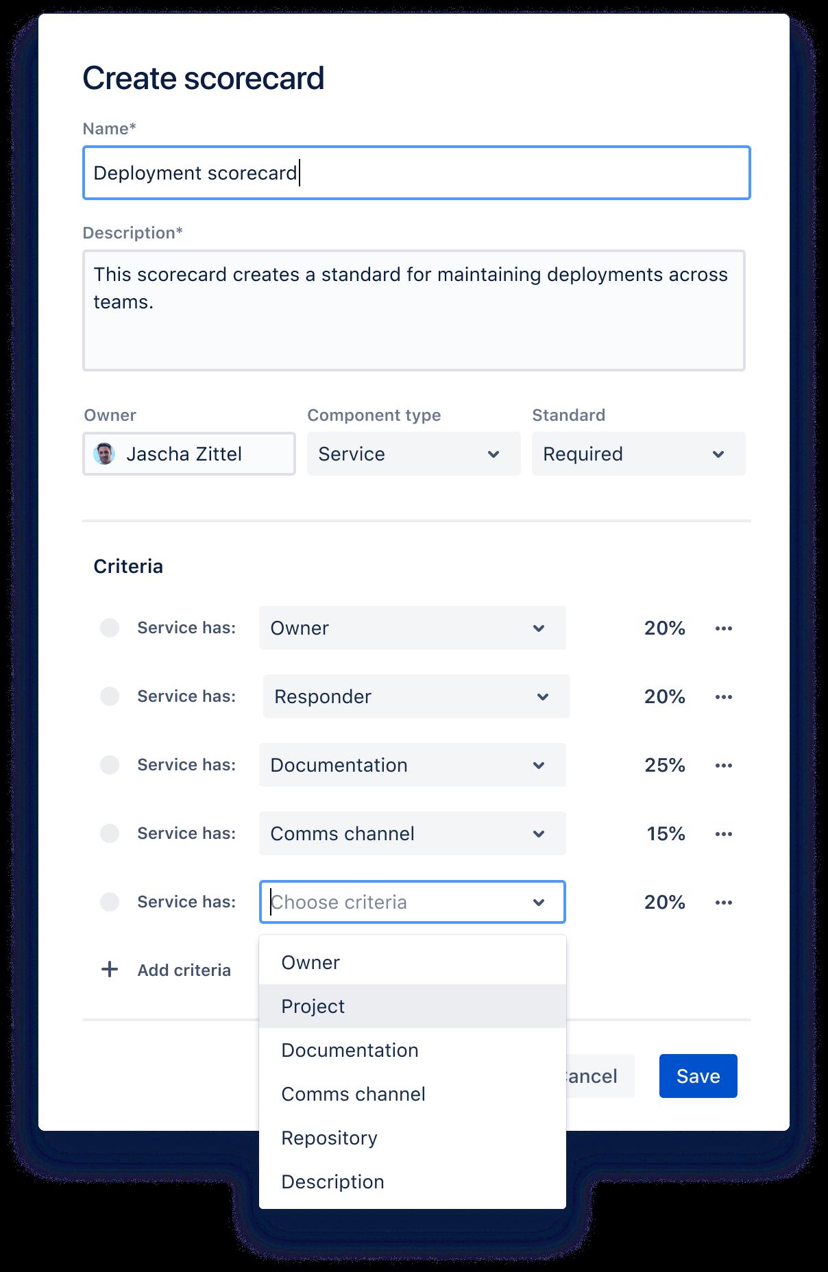 Capture d'écran des critères d'un tableau de bord