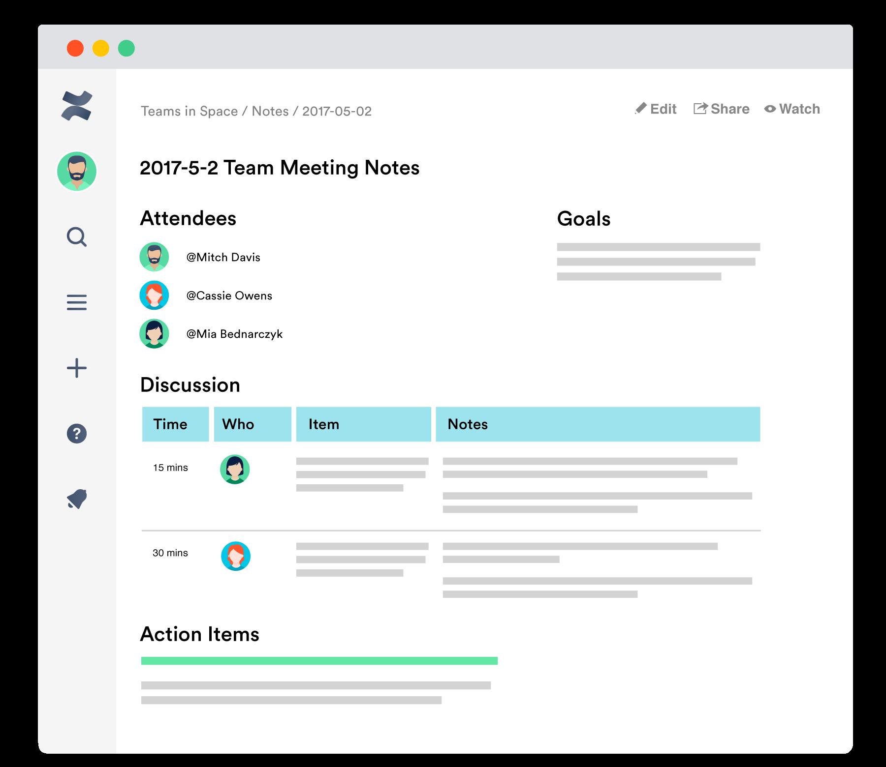 Software de documentação de equipe Confluence