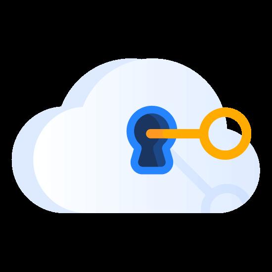 Ilustração de fechadura em uma nuvem com chave
