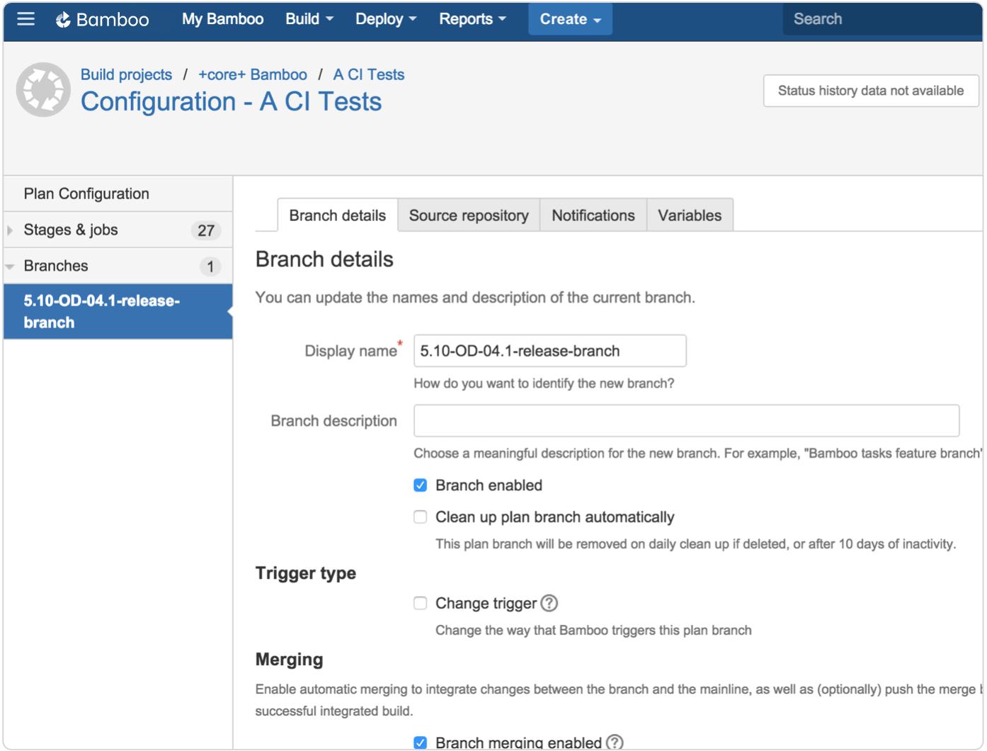 Captura de tela das configurações do branch de configuração do Bamboo