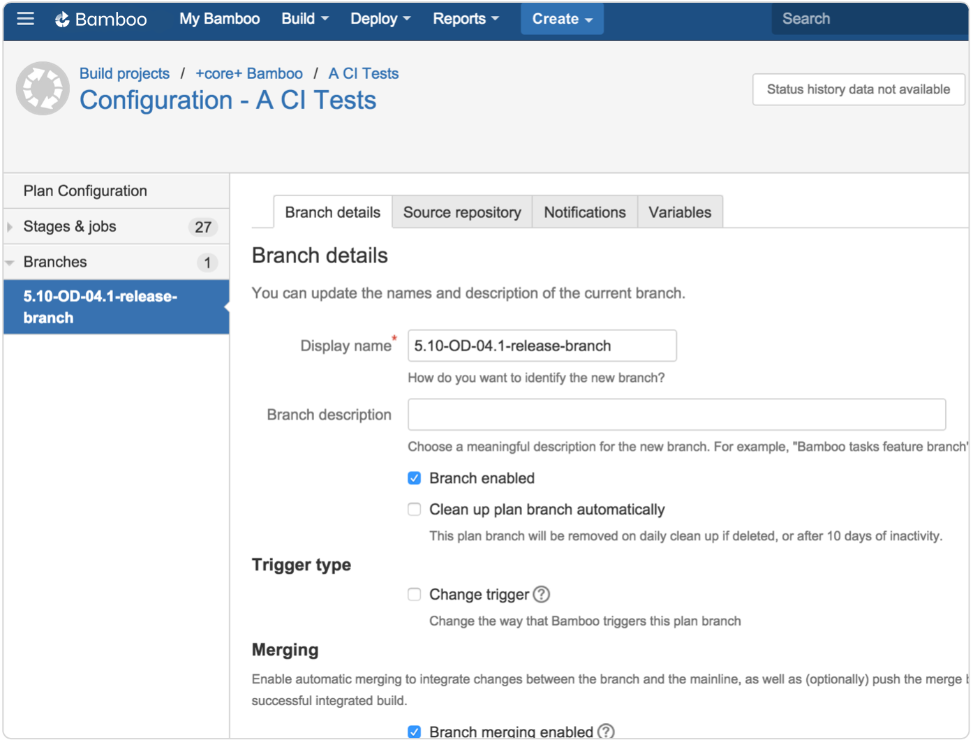 Bamboo configuration branch configs screenshot