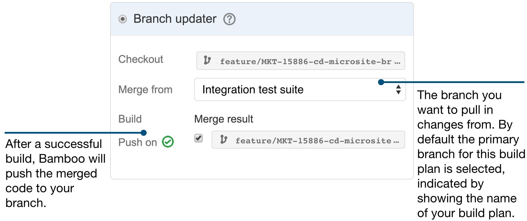 Captura de pantalla del actualizador de ramas | CI/CD de Atlassian