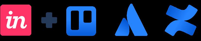 Logo InVision plus logo Trello, Atlassian i Confluence