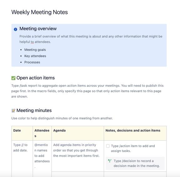 Weekly meeting templates
