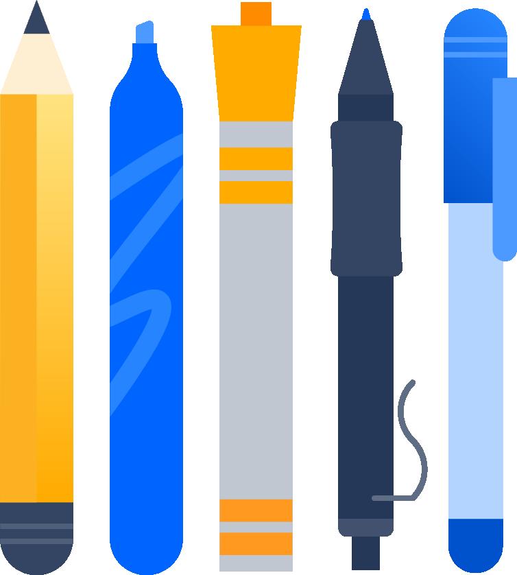 Kugelschreiber und Filzstifte