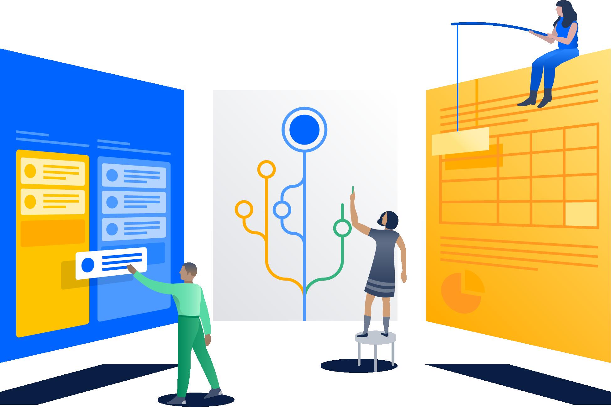 Ilustração de uma equipe em planejamento de projetos