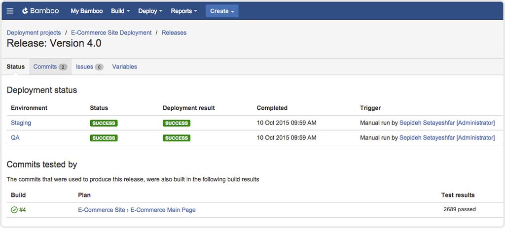 Bamboo release version 4.0 screenshot
