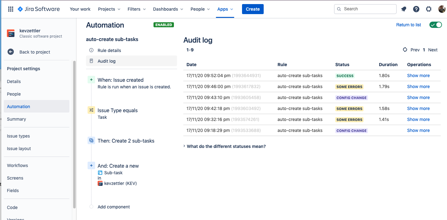 Visit the audit log