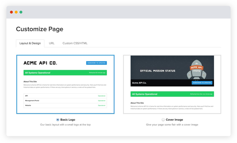 Dostosowywanie za pośrednictwem Statuspage