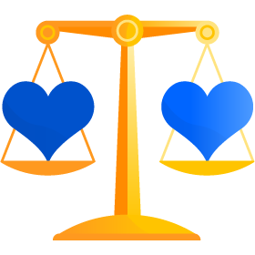 Graphic of Scale balancing hearts