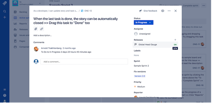 Feature flag status on display in Jira Software