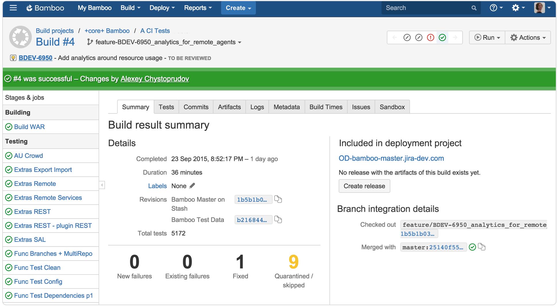 Bamboo Build result integration details screenshot