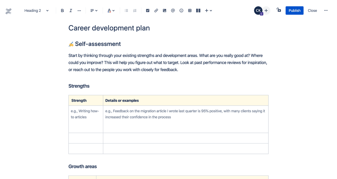 Career development plan template
