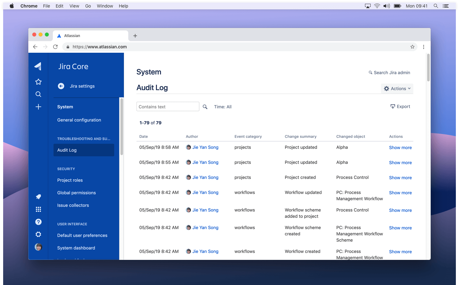 Audit log