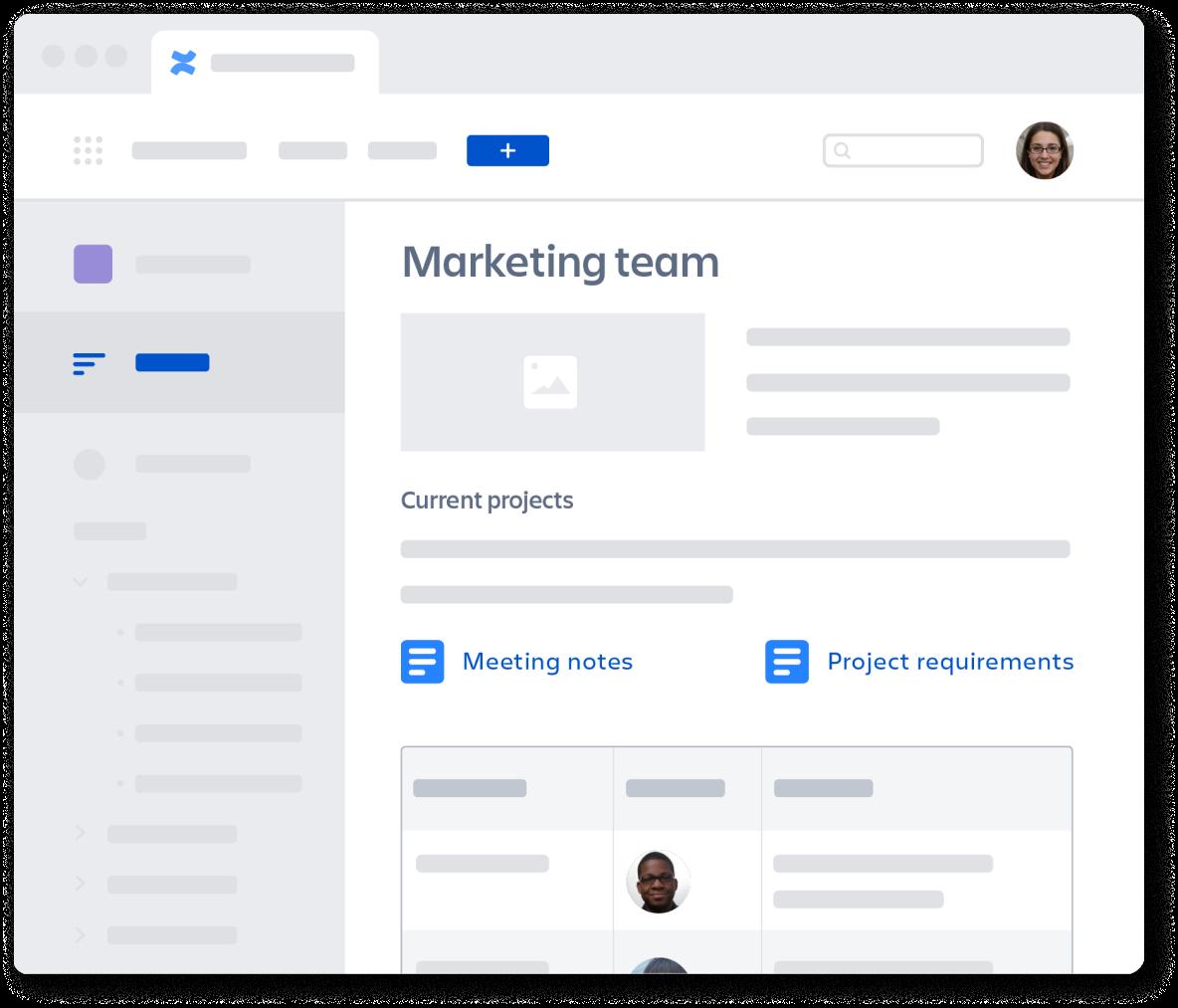 Página da equipe de marketing