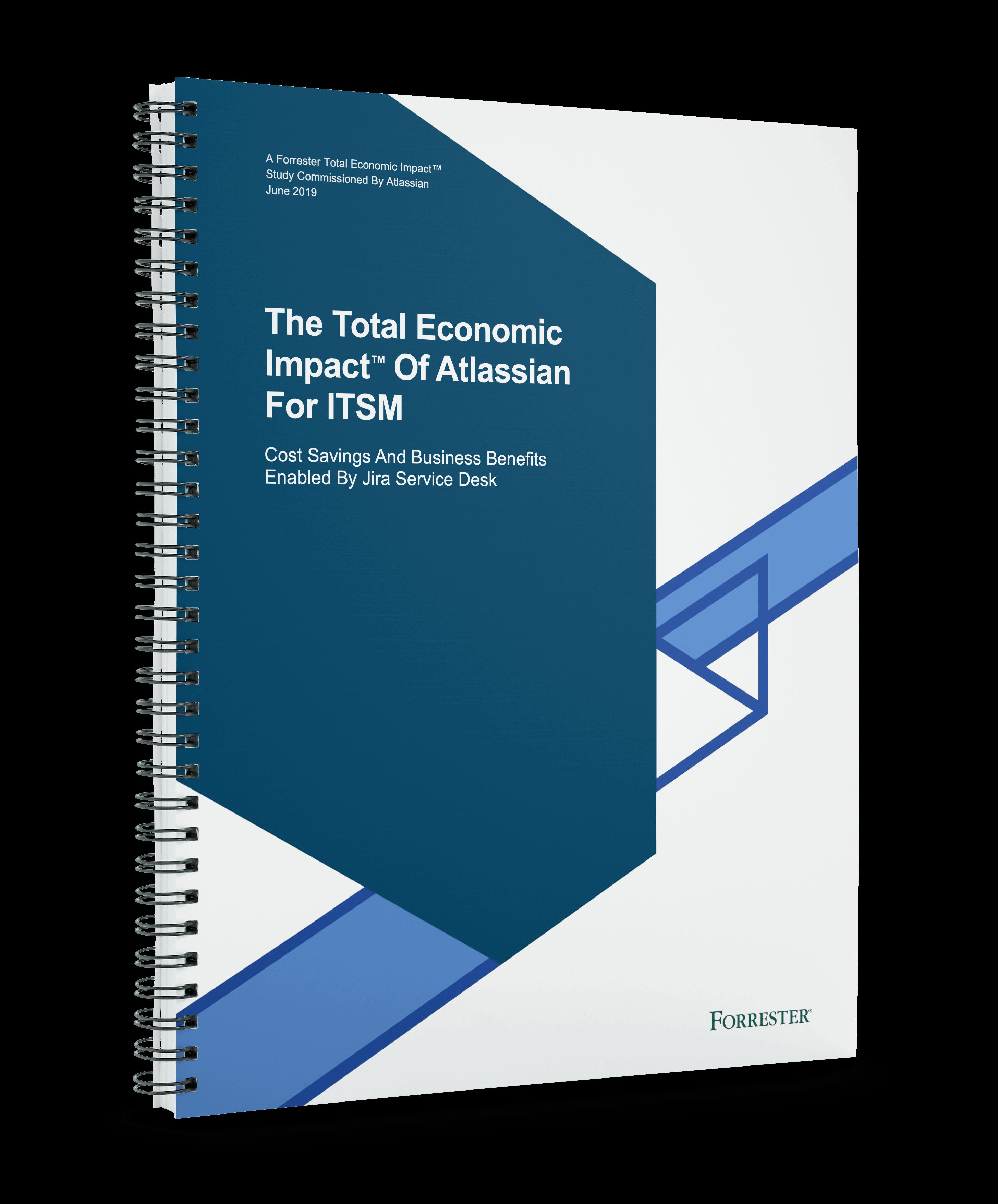 Boekomslag van Forrester's Total Economic Impact™ van Atlassian voor ITSM