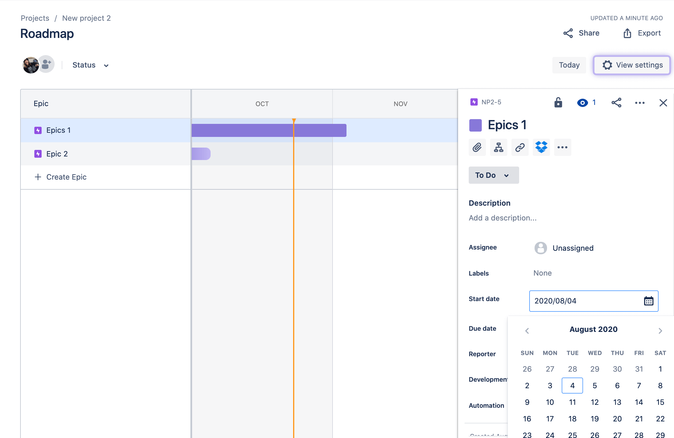 Jira Roadmap epic issue detail view