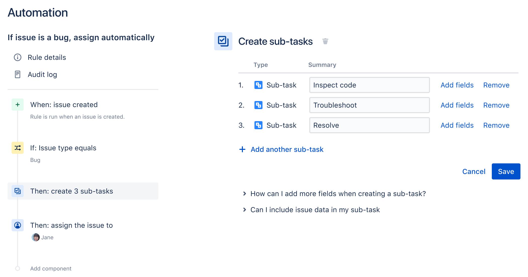 규칙 빌더의 예시로, 새 버그에 자동으로 하위 작업을 추가하고 이를 사용자에게 할당하는 단순한 규칙을 표시합니다.