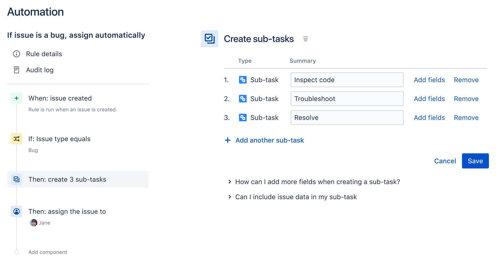 规则构建器的示例,显示的简单规则是为新的缺陷自动添加子任务并指派给用户。