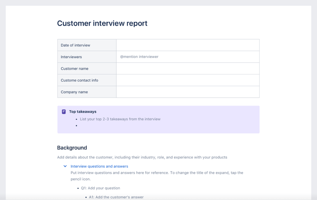 Customer interview template