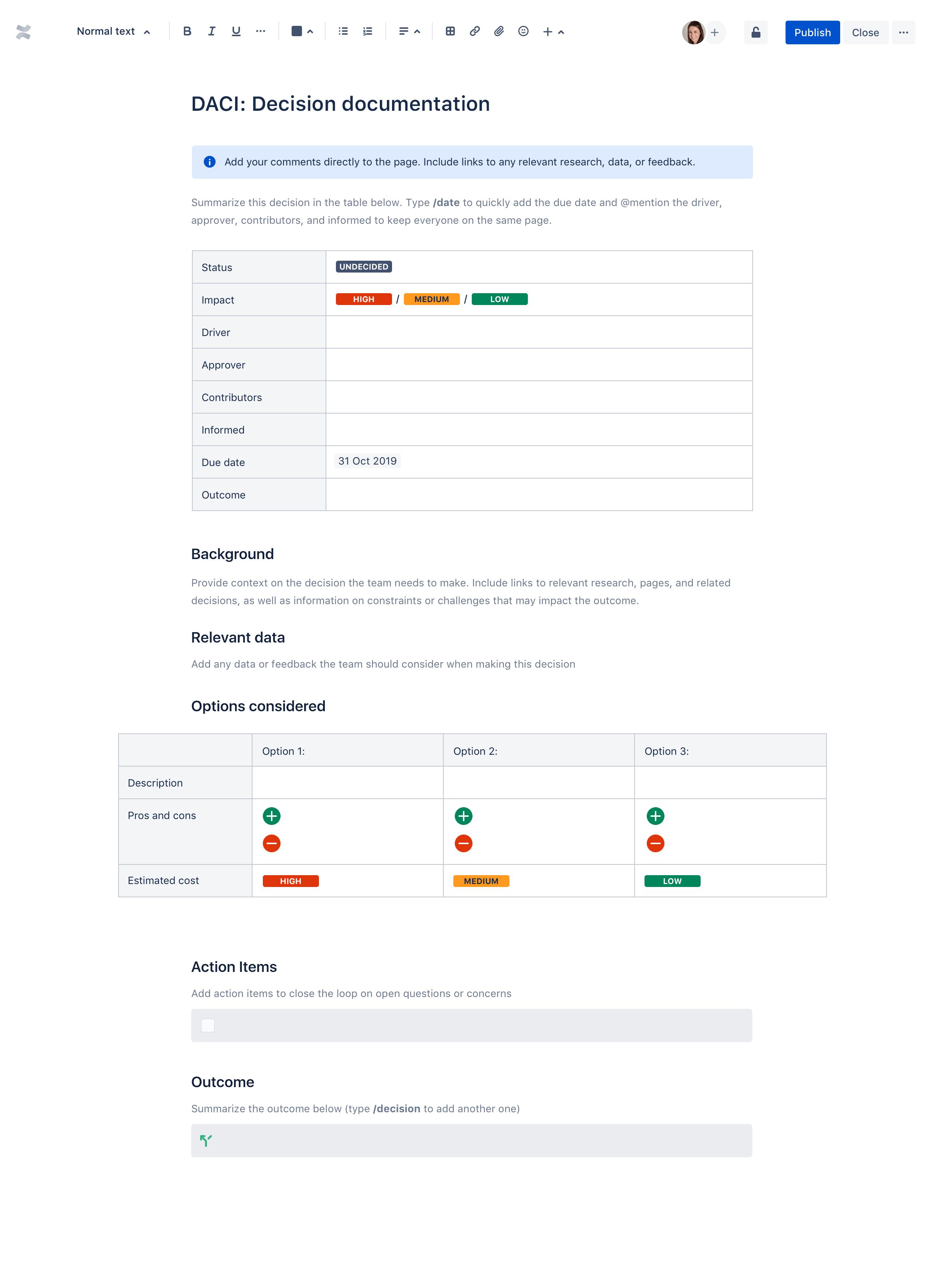 Decision template