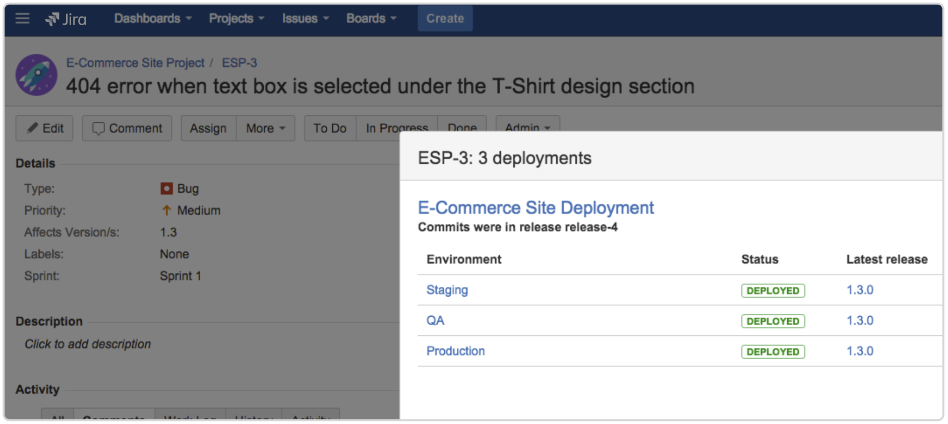 Jira deployments screenshot