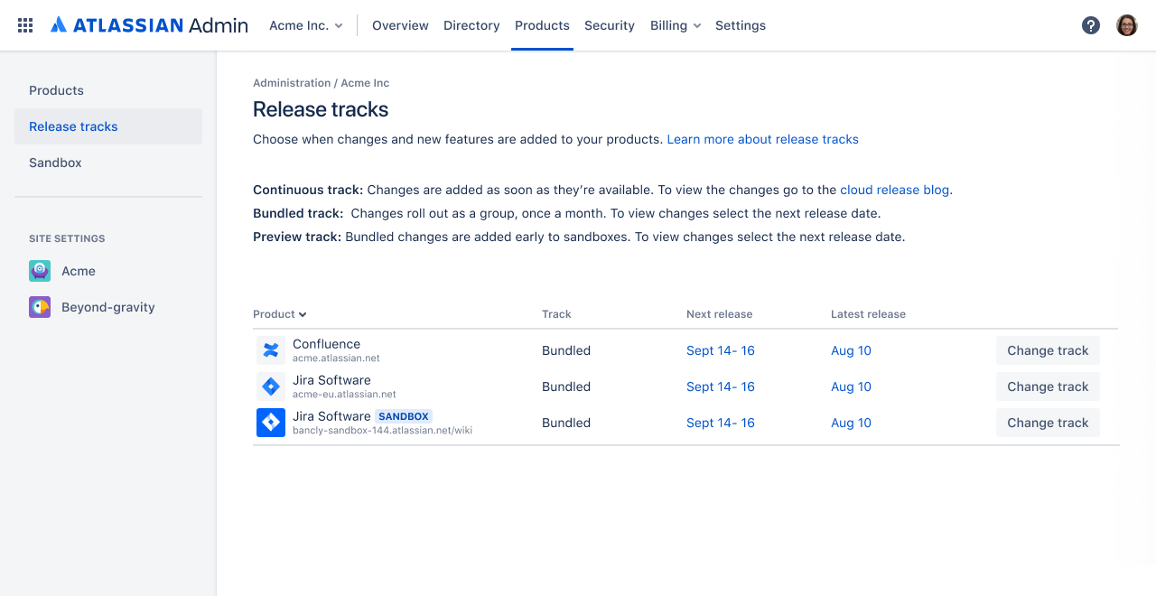 Release track screenshot